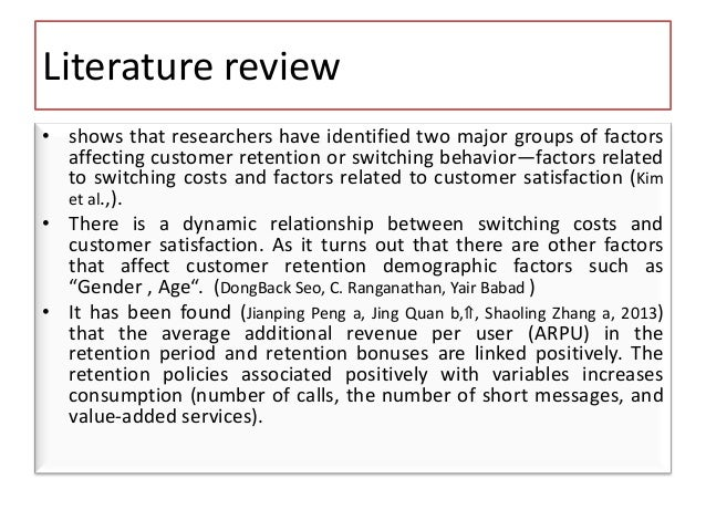 Literature review in customer care